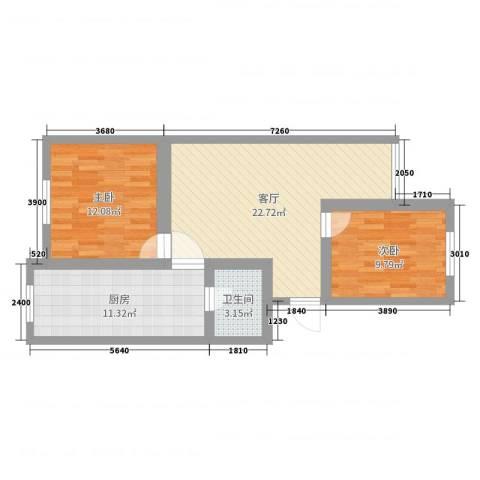 怡丽园2室1厅1卫1厨74.00㎡户型图
