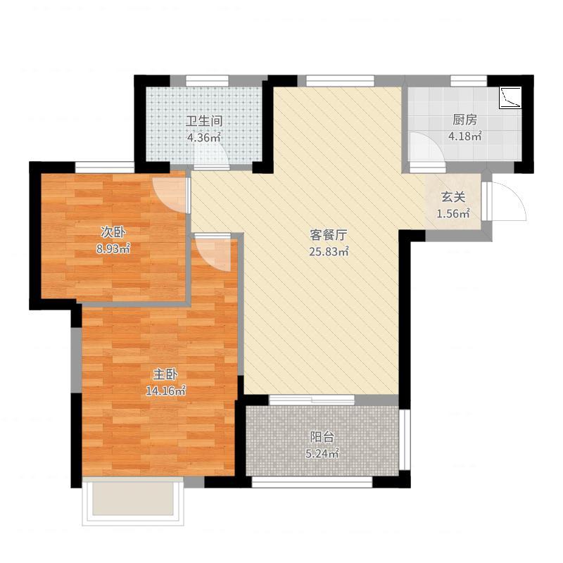 937228886_大华滨江天地2室2厅1卫1厨78.00㎡户型图户型图大全 ...