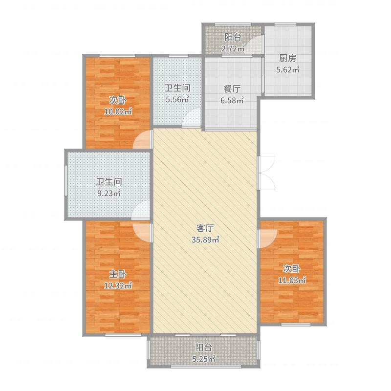 北安1001平三室一厅户型图