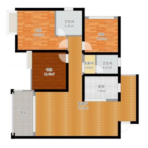 家天下晶品3室2厅2卫1厨145.00㎡户型图
