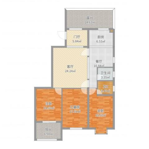 万豪臻品3室2厅1卫1厨153.00㎡户型图