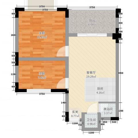 荣盛香水湾2室2厅1卫0厨71.00㎡户型图