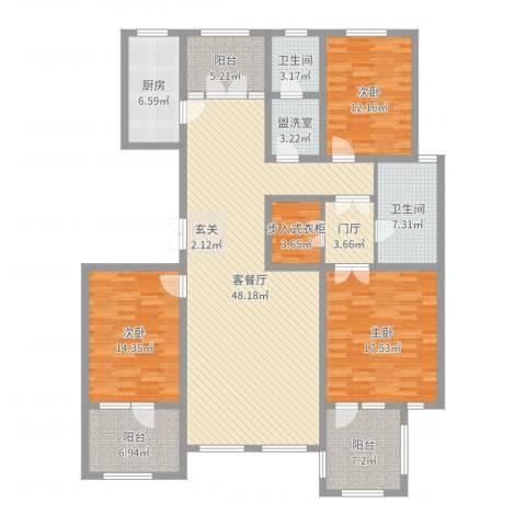 湖畔丽景3室2厅2卫1厨174.00㎡户型图
