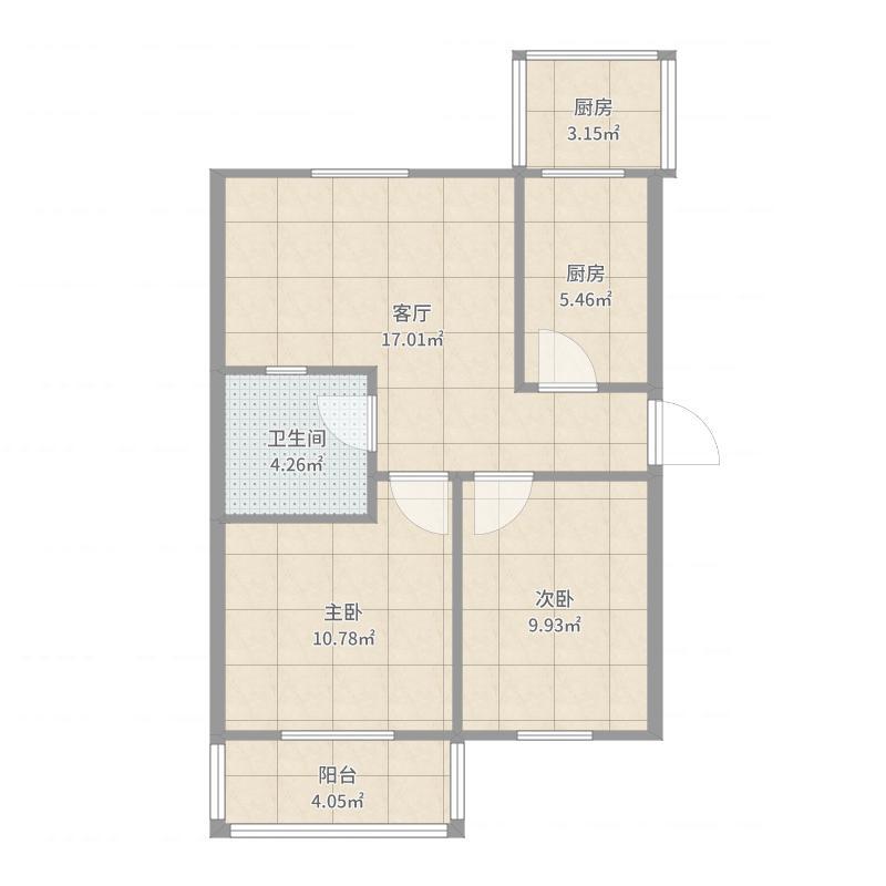 两室一厅户型图