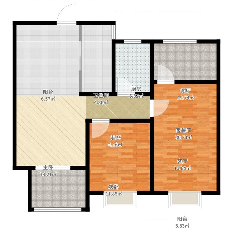 世茂运河城95.00㎡世茂瀚河府95平米户型3室2厅1卫-副本户型图