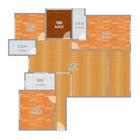 石林中心城4室2厅2卫1厨154.00㎡户型图