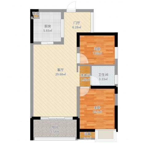 融科檀香山2室1厅1卫1厨78.00㎡户型图