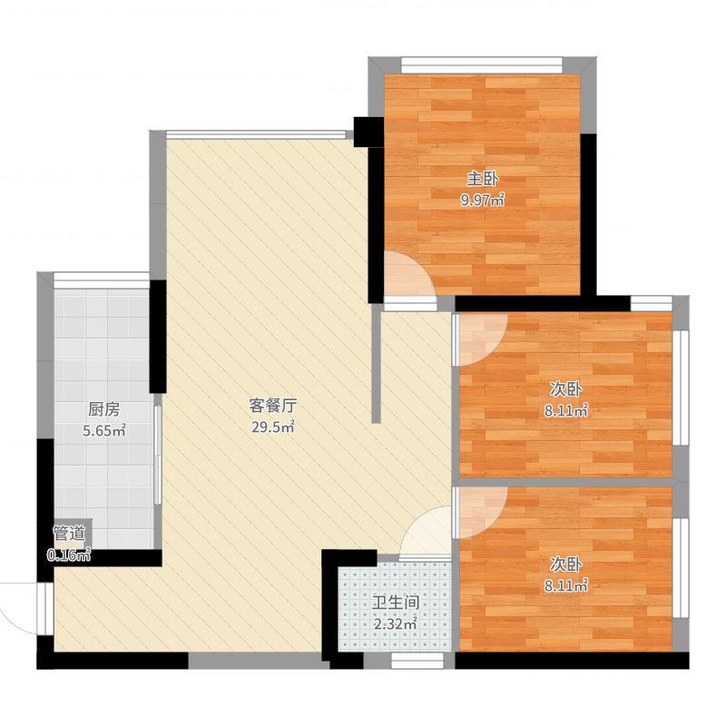 远洋香派6.00㎡一期1/2/3号楼标准层A户型3室2厅1卫1厨-副本户型图