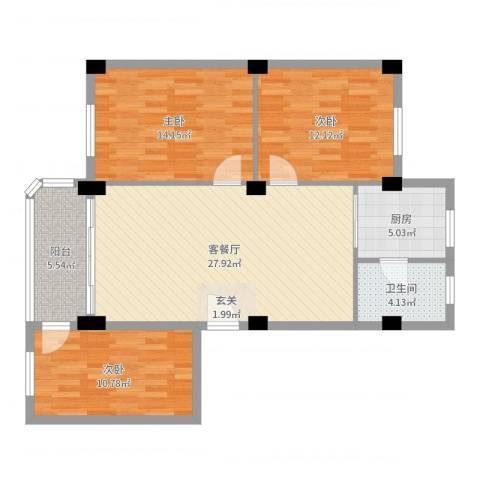 翠景花园一期3室2厅1卫1厨100.00㎡户型图