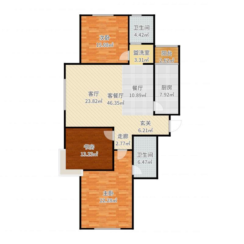 牡丹城户型3室1厅2卫1厨-副本户型图