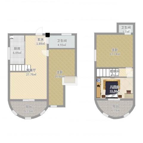 印象欧洲3室2厅2卫1厨130.00㎡户型图