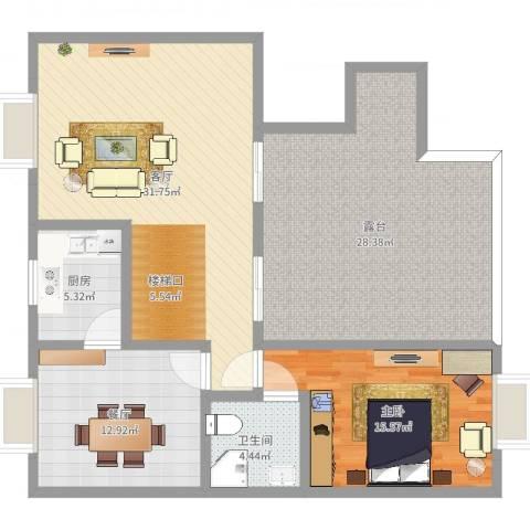 康桥丽景复式1室2厅1卫1厨123.00㎡户型图