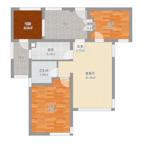 雅戈尔潇邦3室2厅1卫1厨91.00㎡户型图