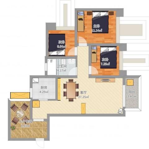 万硕江城一品3室1厅1卫1厨91.00㎡户型图