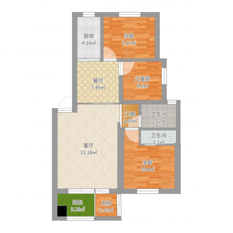 修改6-4+大、小卫生间户型图