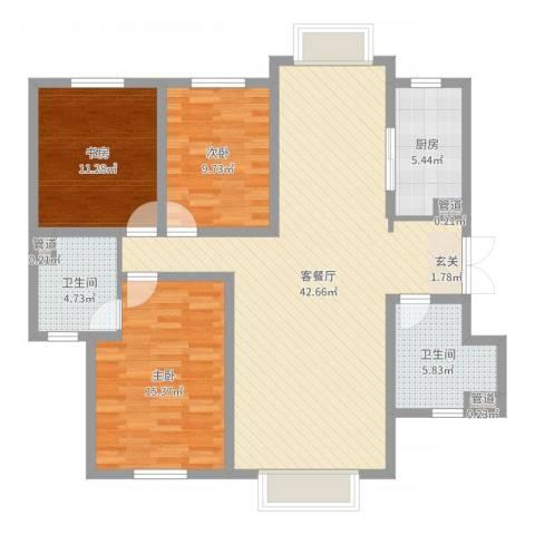 天庆格林小镇3室2厅2卫1厨120.00㎡户型图