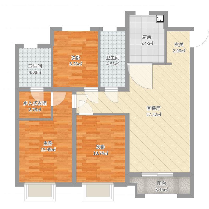 赞城YOHOTOWN118.00㎡蔚景户型3室3厅2卫1厨-副本户型图