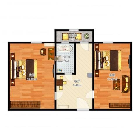 倚虹中里2室1厅1卫0厨54.00㎡户型图