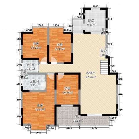 西安印象4室2厅2卫1厨260.00㎡户型图