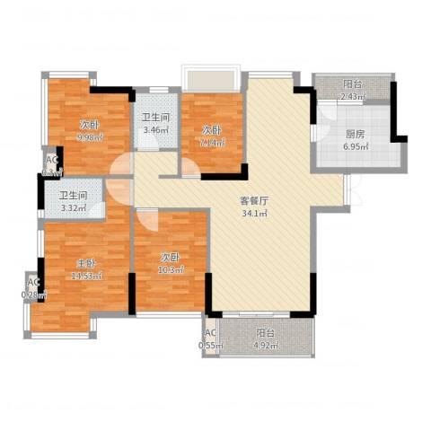 金地格林小城三期4室2厅2卫1厨123.00㎡户型图