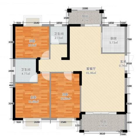 鑫湖缘・时代广场3室2厅2卫1厨137.00㎡户型图