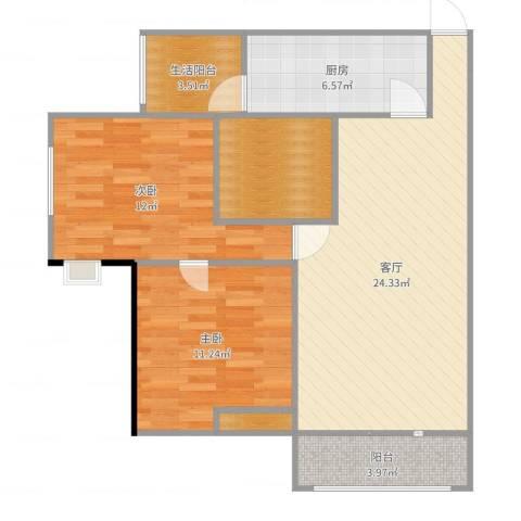 雄飞新园紫郡2室1厅0卫1厨85.00㎡户型图
