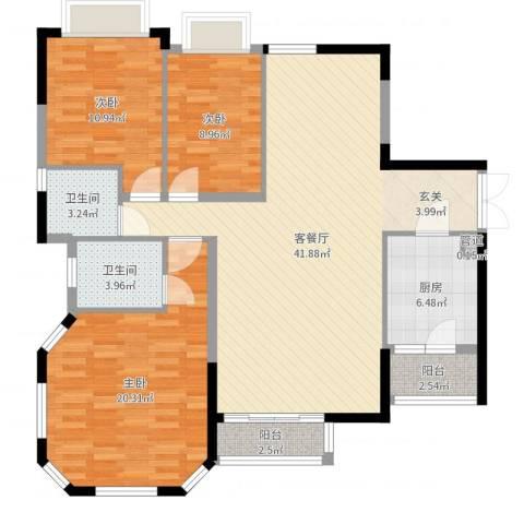 金碧花苑3室2厅2卫1厨126.00㎡户型图