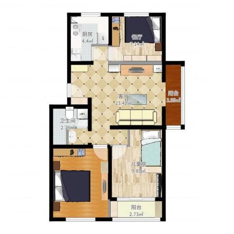 华苑居华里4-1-6011室2厅1卫1厨78.00㎡户型图