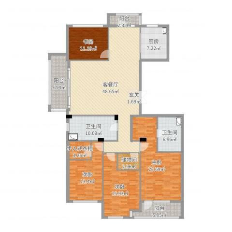 绿城御园别墅4室2厅2卫1厨198.00㎡户型图