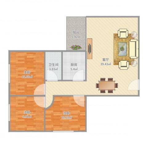 世纪华都3室1厅1卫1厨109.00㎡户型图