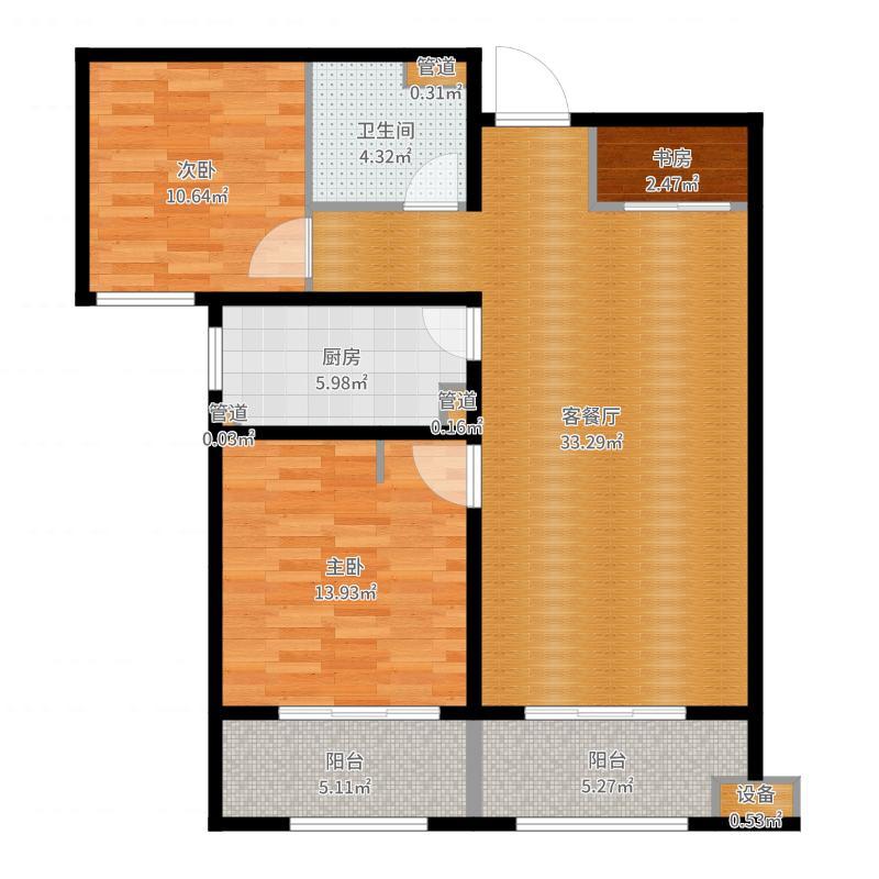 林荫大院100.00㎡B5户型2室2厅-副本户型图