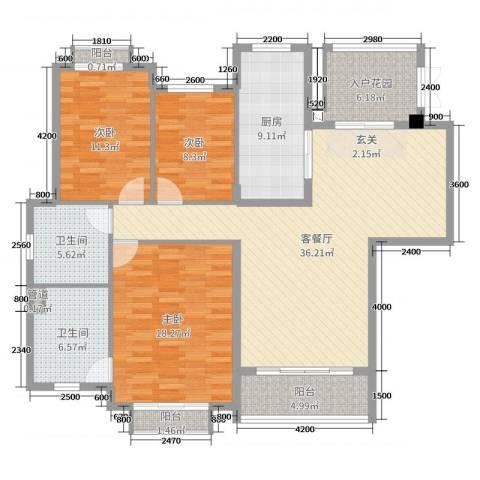 天乙海岸名都3室2厅2卫1厨143.00㎡户型图