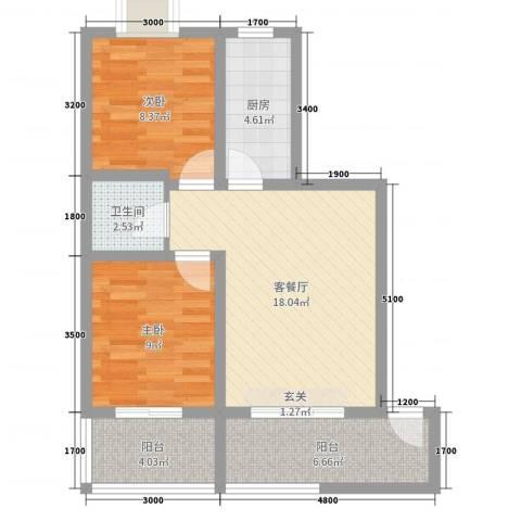 海棠湾2室2厅1卫1厨76.00㎡户型图