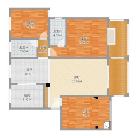 东湖怡景园3室2厅2卫1厨149.00㎡户型图