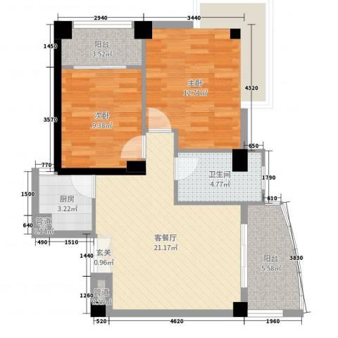 旭峰花园广场2室2厅1卫1厨76.00㎡户型图