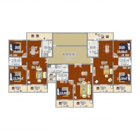 东山花园5室4厅3卫2厨338.00㎡户型图
