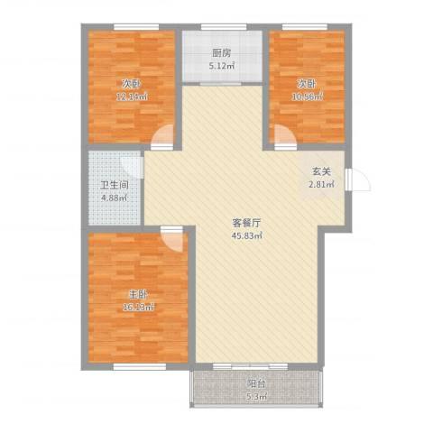 巨海城九区3室2厅1卫1厨125.00㎡户型图