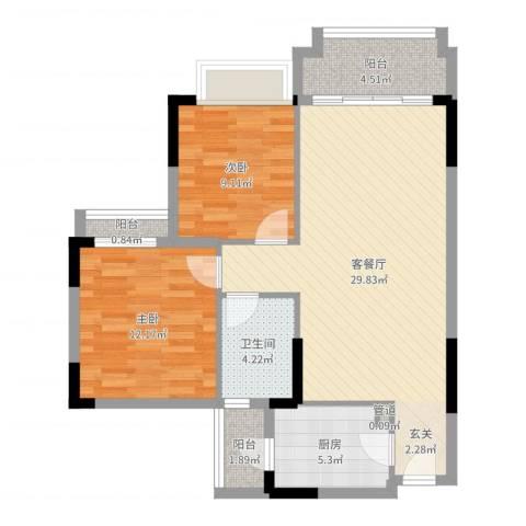 阳光粤港三期2室2厅1卫1厨85.00㎡户型图