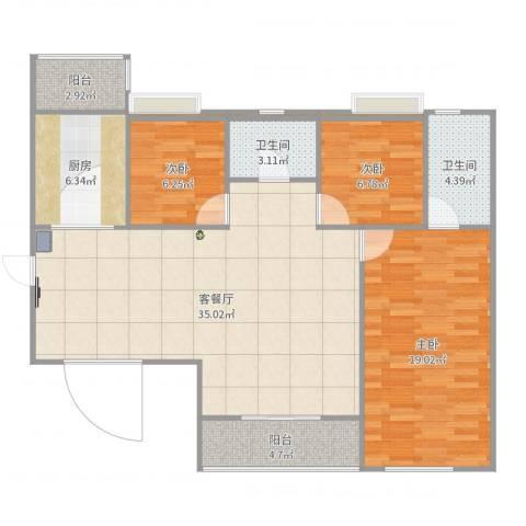 东方傲景峰3室2厅2卫1厨111.00㎡户型图