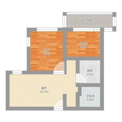 八里庄北里2室1厅1卫1厨51.00㎡户型图