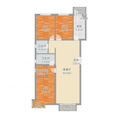 宏洋美都3室2厅2卫1厨138.00㎡户型图