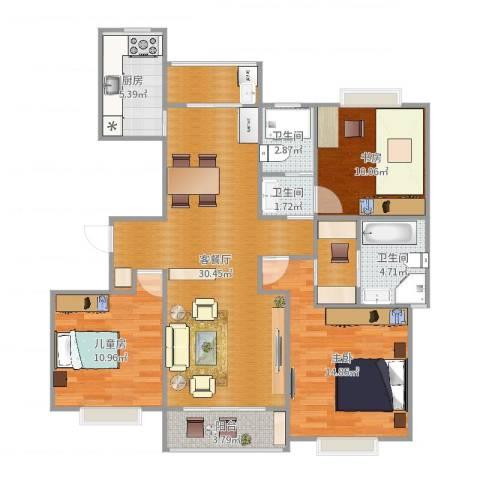 江桥佳苑3室2厅3卫1厨113.00㎡户型图