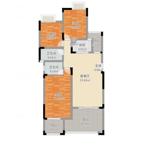 竣尊・御景国际3室2厅2卫1厨140.00㎡户型图