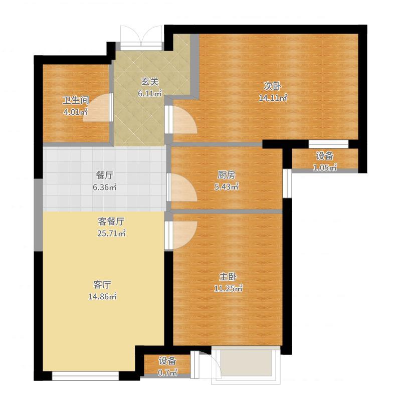 泰达城河与海87.00㎡泰达城河与海87.00㎡2室1厅1卫户型2室1厅1卫-副本户型图