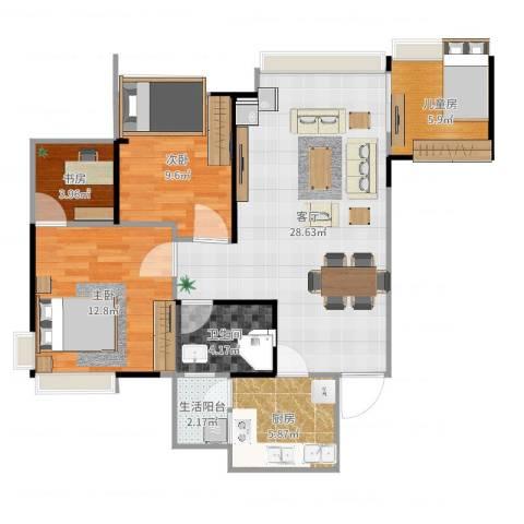 雄飞新园紫郡4室1厅1卫1厨91.00㎡户型图