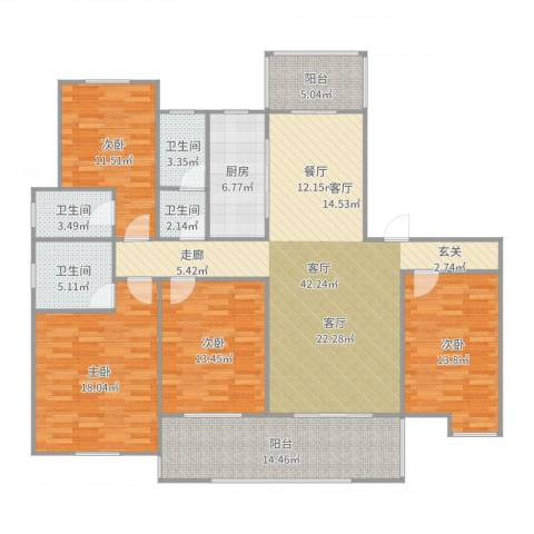 瑞景国际4室1厅4卫1厨174.00㎡户型图