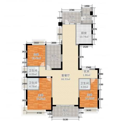 天骄御峰花园3室2厅3卫1厨205.00㎡户型图