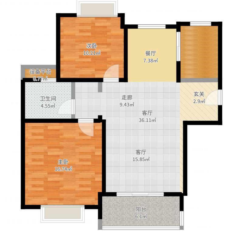 合生前滩一墅90.00㎡A户型90平米户型2室2厅1卫户型图