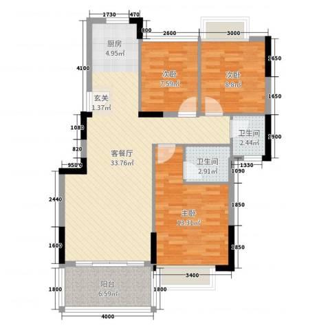 凯茵豪庭3室2厅2卫0厨90.00㎡户型图