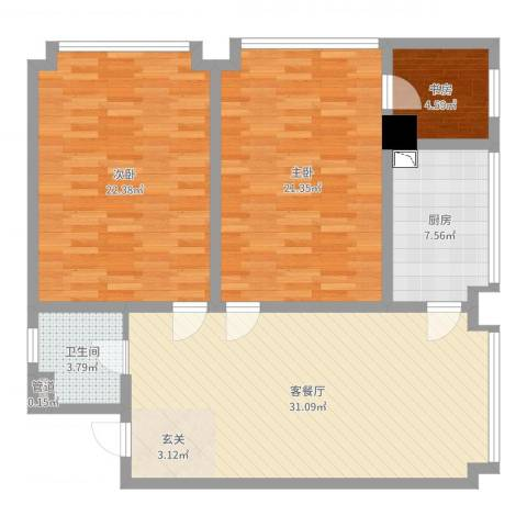 永利广场3室2厅1卫1厨114.00㎡户型图